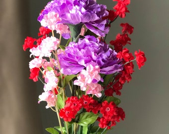 Valentine's Day Carnation Bouquet - Artificial Floral Arrangment for Allergy Sufferers, Keepsake
