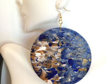 Hand Painted 3in Large Blue, White and Gold Earrings