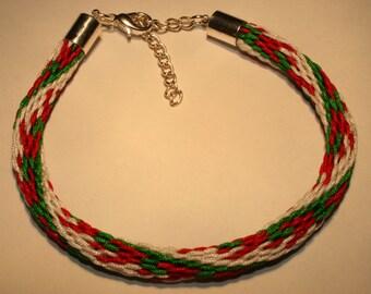Algerian Flag Kumihimo Bracelet