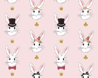 Wonderland 2 - Main Pink SPARKLE - Riley Blake Designs - Gold Metallic Bunny - Quilting Cotton Fabric - by the yard fat quarter half
