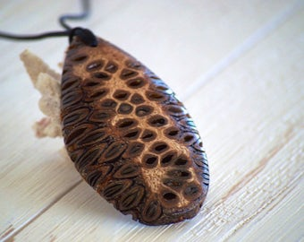 Long necklace - natural jewellery, wood necklace, pendant necklace, wooden pendant, unique gift, gift for her, banksia, wooden necklace