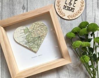 Map Frame // Handmade Map Location Frame // Adventure Awaits Frame // Nursery // New Baby Gift // Wedding Gift // Home Decor // Gift
