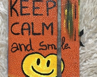 "HANDMADE LEATHER Bound Appointment Book / Agenda / Organizer ""Keep Calm & Smile"""