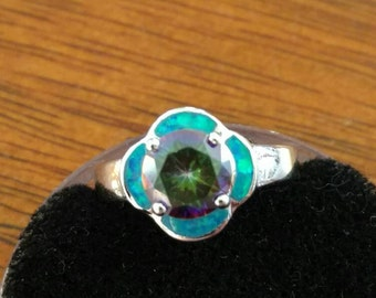 Opal and Mystic Topaz Party Ring, Size 8