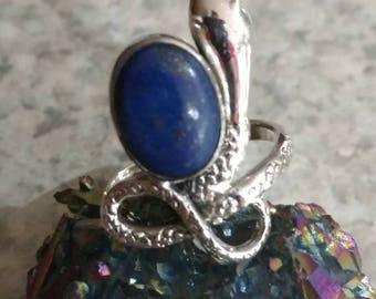 Lapis Snake Ring, Size 8 1/2