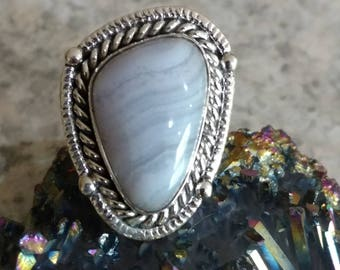 Blue Lace Agate Ring Size 5 1/2