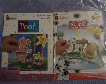 Colorforms  Winnie the Pooh 101 Dalmatians Easter Packs NIP old stock take along Vacation quiet time