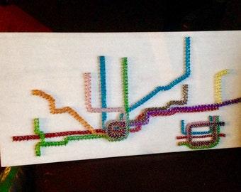 Custom Handcrafted String Art Chicago CTA Transit Map Sign