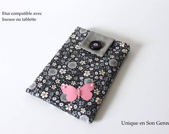 Case for e-reader type Kindle or similar format tablet, flowered pink creation Butterfly one of his kind