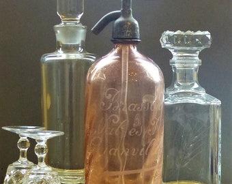 French Vintage Pink Soda Siphon Bottle. Pink Seltzer Bottle. Pink Soda Siphon Bar Decor. French Pink Seltzer Bottle. Etched Soda Siphon.