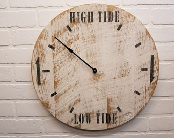 "Tide Clock, Coastal Clock 18"" white tide clock. Distressed to give it that weathered look."
