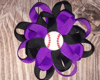 Rockies inspired loopy baseball hair bow with black and purple and a baseball center on alligator clip