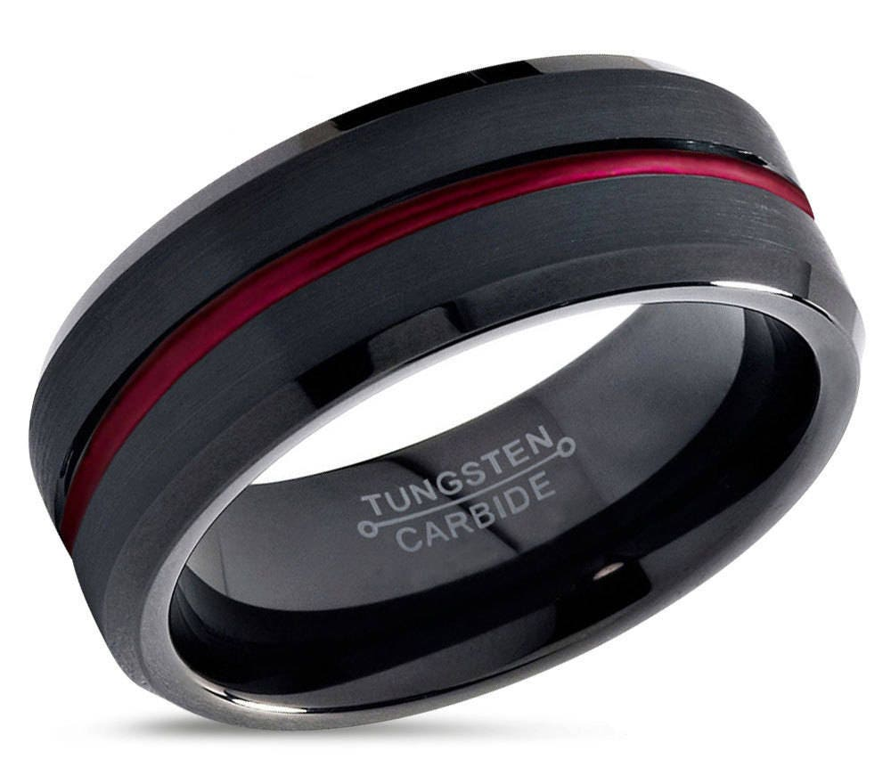 Tungsten ring mens black red wedding band tungsten ring for Mens wedding rings tungsten
