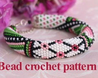 Patchwork pattern Bead crochet pattern PDF tutorial Crochet rope scheme DIY necklace Jewelry making Diy bracelet Seed bead pattern