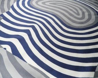 Harrods London Vintage Silk Scarf  Striped Swirls