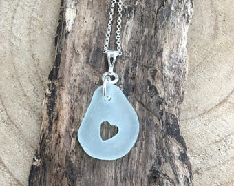 Seafoam Sea Glass hand carved cut out heart pendant with 20 inch sterling chain .