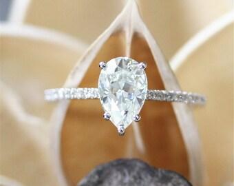 Forever Brilliant Moissanite Ring,6*9mm FB Pear Shape Moissanite Engagement Ring,Half Eternity Pave Diamonds,Stackable,14K White Gold Ring