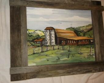 twin silo barnyard 16x20 acrylic painting with rustic frame