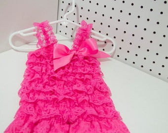 Pink Ruffle Romper, Petti Lace Romper, Pink Lace Ruffle Romper,Baby Petti Romper, Cake Smash Outfit,1st Birthday Outfit, Newborn Photo Shoot