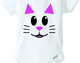 Cat Face Baby Onesie Design, SVG, DXF, EPS Vector files for use with Cricut or Silhouette Vinyl Cutting Machines