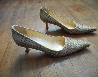 vintage giuseppe zanotti design E2709 4086 made in italy vicini woven braided kitten heels pumps womens shoe size euro 38