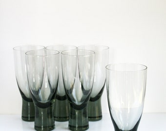 "6 Holmegaard Canada Per Lutken Beer Wine Drinking Glass Set 7""tall"