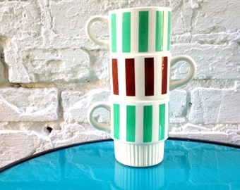 STRIPED STACKING MUG / Choose Your Own Adventure / Set of Three / Individual / Seafoam and Brown Stripes / 1970s 70s 60's 1960s