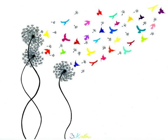 Art Print Rainbow Birds Flying From Dandelion - Make a Wish Wall Art