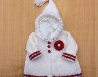 Baby cardigan, baby sweater, hand knitted baby cardigan, hand knitted baby sweater, white and red coloured baby cardigan, 0-3 months size