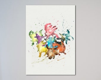 Pokemon Eevee evolution Poster Watercolor Print Vaporeon Jolteon Flareon Espeon Umbreon Leafeon Glaceon Sylveon