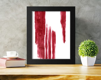 Red Abstract Printable, Brushstrokes Print, Red Brushstrokes Art, Modern Print, Instant Download