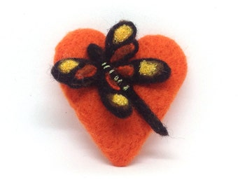 Needle Felted Brooch ,  Handmade, Needle Felted heart with Dragonfly, Handmade Brooch, Gift For Her, Valentines day, Mothers Day