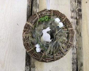 """Door wreath Easter """"Rabbit Feathry's nest"""""""