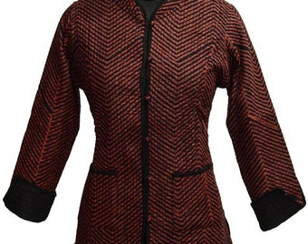 Black and Red ZigZag Block Printed Quilted Jacket