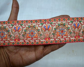 Saree Border Fabric Trim By The Yard Indian Laces and Trims Embroidered Wholesale Trimmings Ribbon Indian Sari Border gold indian trim