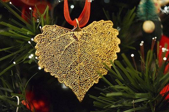 Real Leaf Ornaments 24k Gold Plated Real Cottonwood Leaf