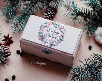 Wedding Winter Ring Box with Christmas Wreath