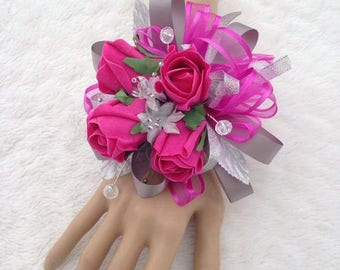Pink and silver bracelet corsage