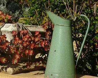 Enamelled Broc / shabby chic / French / vintage blossom enamel pitcher