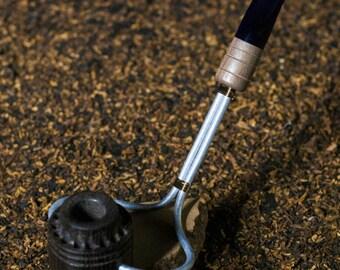 Morta, Black Walnut, and Stainless Steel Churchwarden Sitter Tobacco Smoking Pipe
