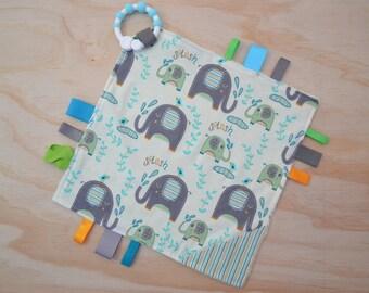 Taggie, Crinkle Sound, Sensory, Activity, Teething, Minky Blanket- Grey Elephants