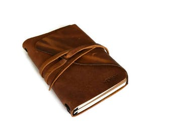Leather Journal | Cognac brown | Travel Leather Notebook | Diary | Gifts for him | Rustic | Book | Refillable | Writing Journal | A6 | To do