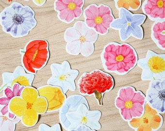 Flowers Assorted Flake Stickers (45 pcs) // Die Cut Stickers // Planners //  Laptop Stickers  // Scrapbooking Essentials