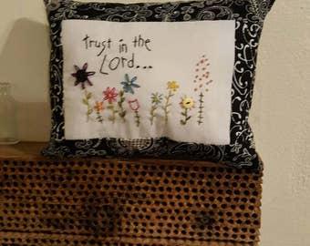 Decorative pillow, accent pillow, sympathy , inspirational, hand-stitched,shelf pillow