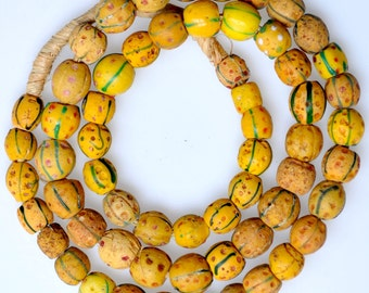 Antique Venetian Yellow Trade Beads - African Trade Beads - 28 Inch Strand (60 Beads)