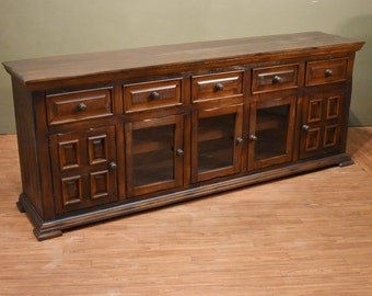 Rustic Brown Solid Wood Distressed 83 inch White TV Stand / Media Console