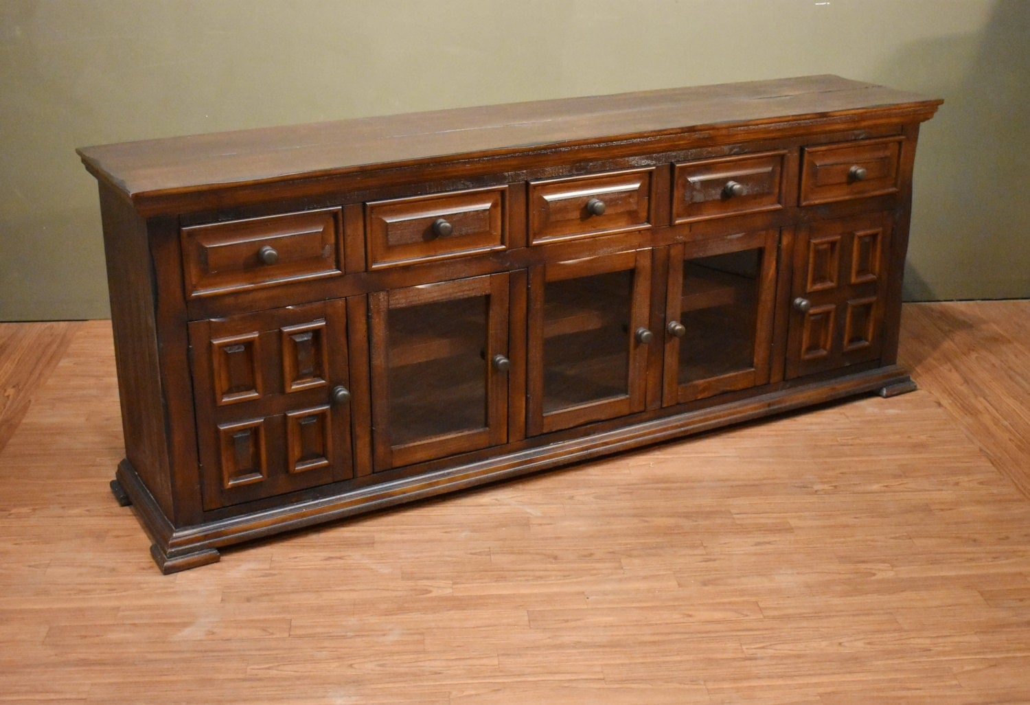 Rustic Brown Solid Wood Distressed 83 Inch White TV Stand