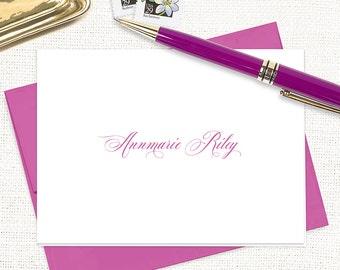 personalized stationery set - EXQUISITE TYPE - set of 8 folded note cards - custom - feminine stationery - couples stationary
