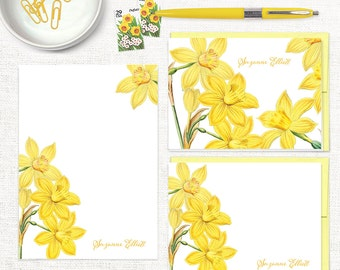 complete personalized stationery set -  YELLOW DAFFODILS - narcissus notepad - note cards - floral stationary - custom - letter writing set
