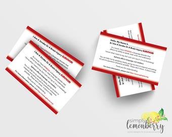 Aphasia Information Cards Card, Stroke Survivor, Brain Injury Survivor, Head Injury Survivor, Brain Tumor Survivor, Business Card Sized